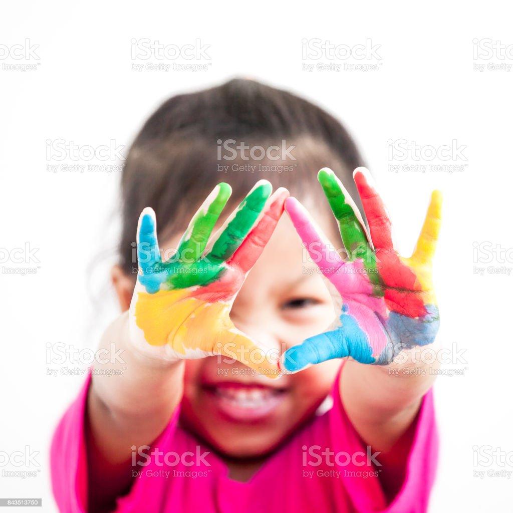 Süße Asiatische Kind Mädchen Mit Händen Gemalt In Bunten Farben Auf ...