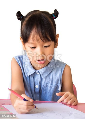 818512928istockphoto Cute Asian girl drawing paper by wooden color pencil on table. Activity for learning. 873551782