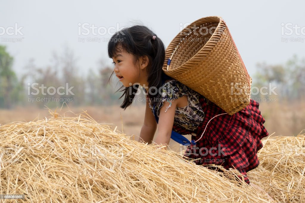 Cute Asian Girl With Basket royalty-free stock photo