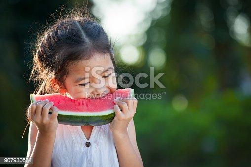 Cute asian little child girl eating watermelon fresh fruit in the garden
