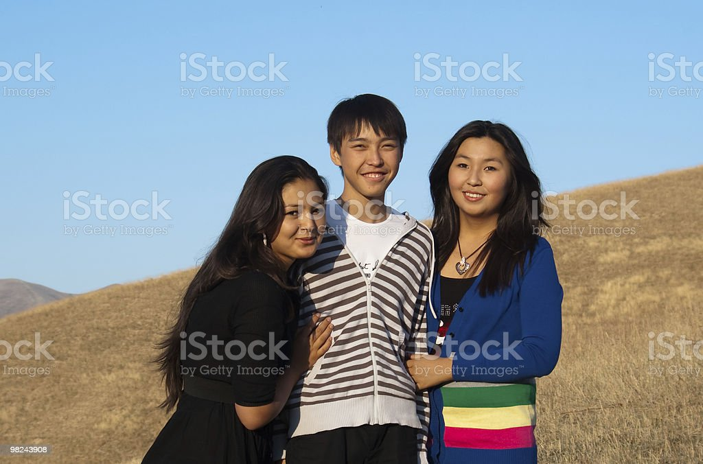 Cute asian teenagers royalty-free stock photo