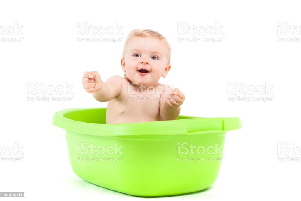 Cute Attractive Baby Boy Take Bath In Tub Stock Photo & More ...