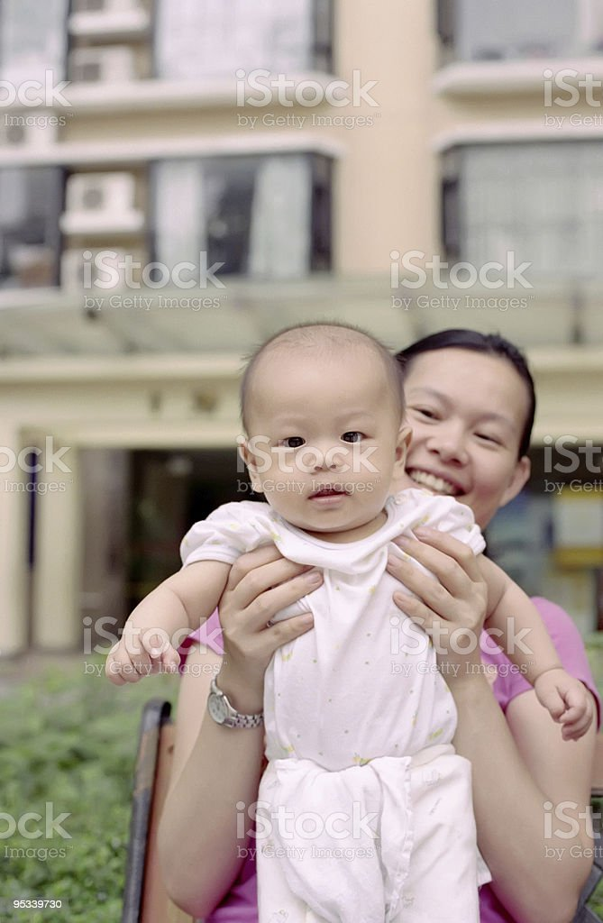 cute baby and mother stock photo