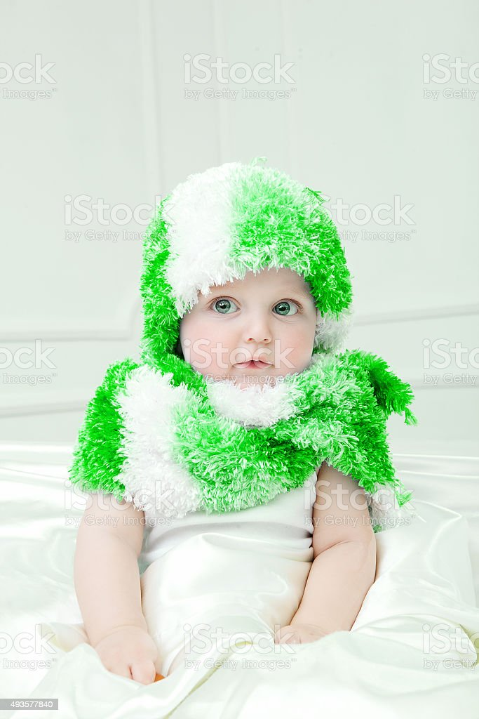 8b1cb84bad7e Cute Baby At Winter Background Stock Photo   More Pictures of 2015 ...