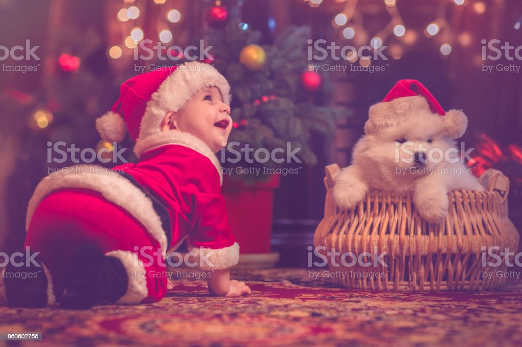 Cute Baby Boy And Puppy In Christmas Stock Photo More Pictures Of