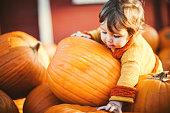 Cute Baby Boy Choosing Fall Pumpkins