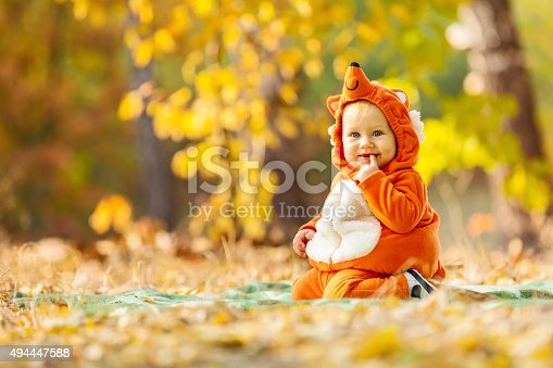 istock Cute baby boy dressed in fox costume 494447588