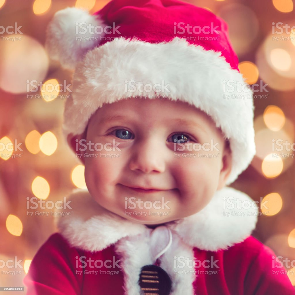 Cute baby boy in Christmas stock photo