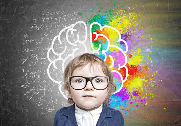 cute baby boy in glasses and colorful brain sketch - genius stock photos and pictures