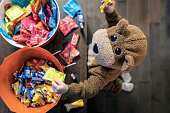 Cute Baby Boy inside Bear Costume Eating or Grabbing Candies at Halloween
