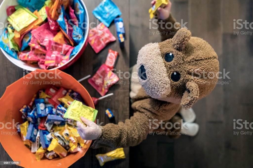 Cute Baby Boy inside Bear Costume Eating or Grabbing Candies stock photo