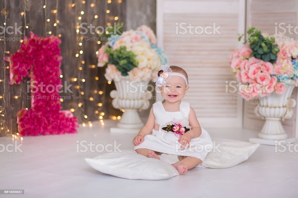 Cute Baby Girl 1 2 Year Old Sitting On Floor With Pink Balloons In Room Over White Isolated Birthday Party Celebration Happy Little