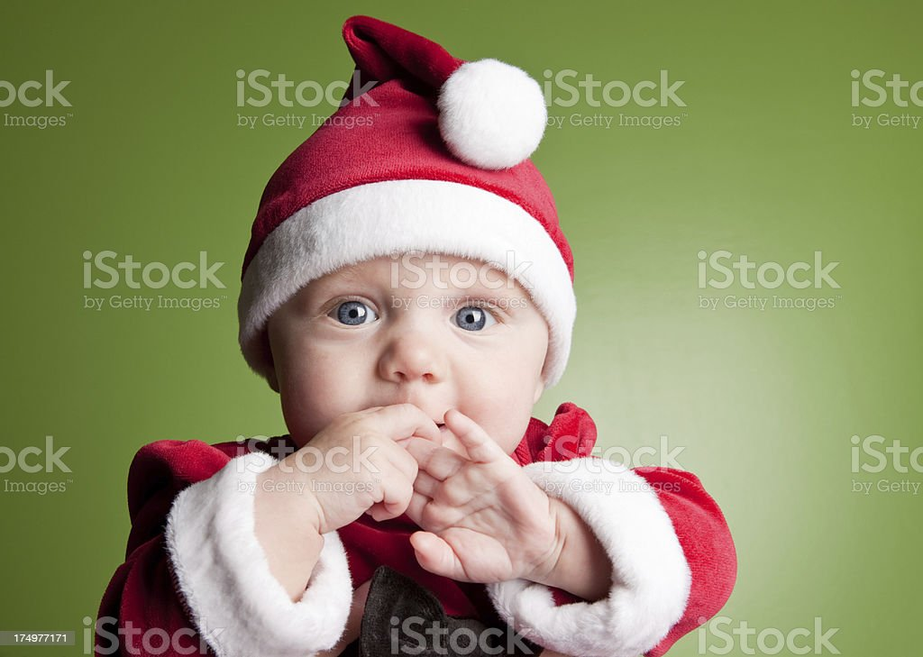 Cute Baby Girl Dressed For Christmas royalty-free stock photo