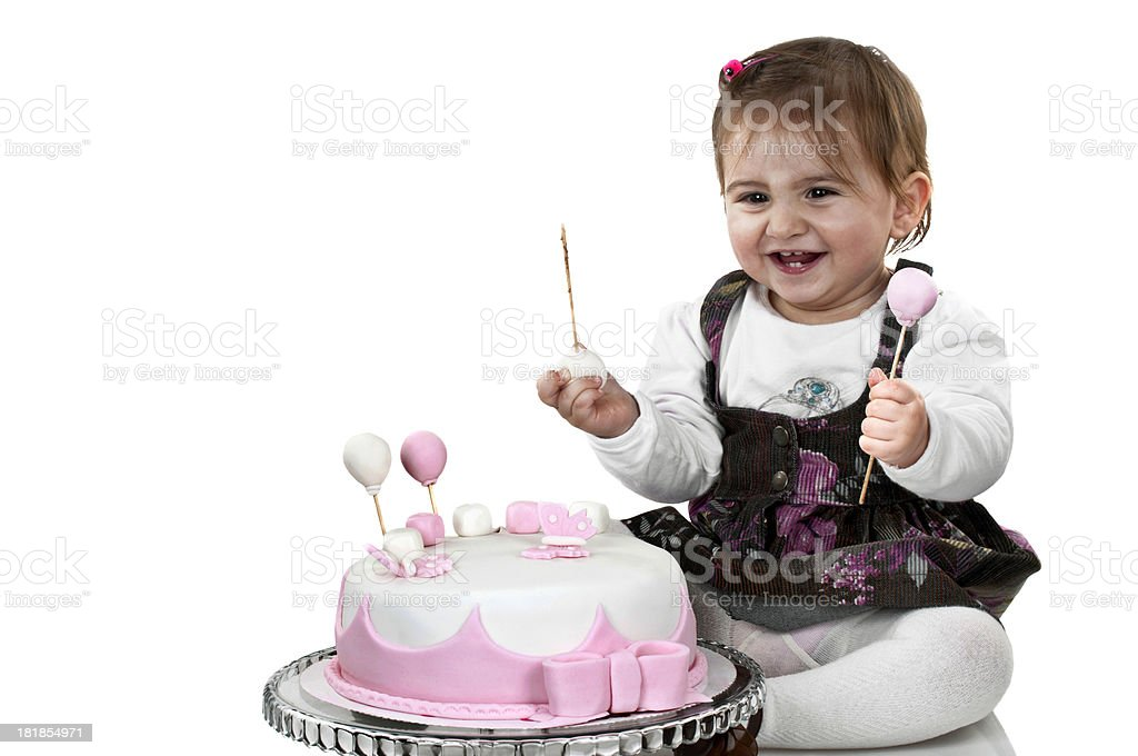 Peachy Cute Baby Girl First Birthday Cake Stock Photo Download Image Funny Birthday Cards Online Sheoxdamsfinfo