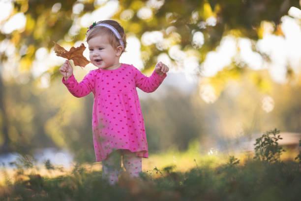 Niedlichen Mädchen halten Ahornblatt – Foto