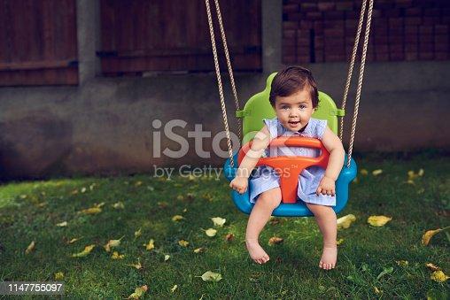 smiling baby girl on swing enjoying happy summer day.