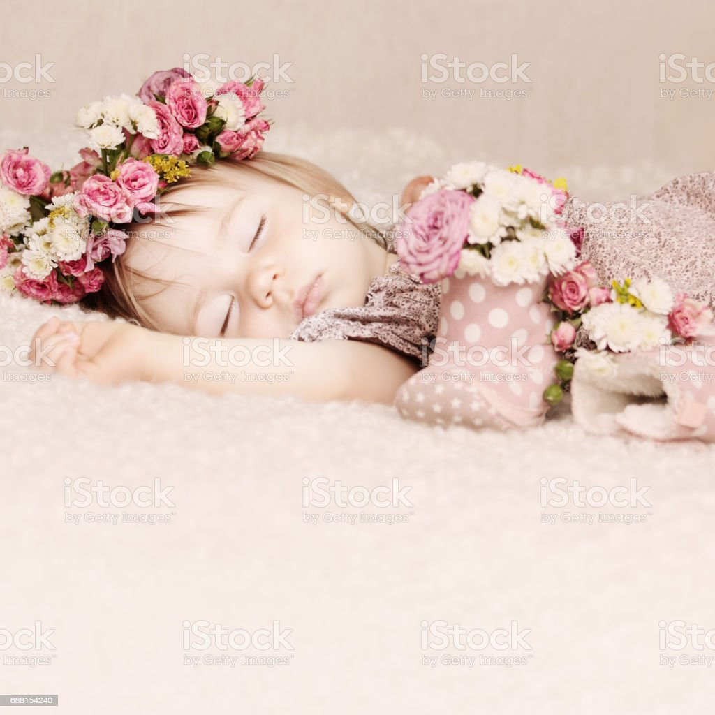 Cute Baby Girl Sleep With Flowers On Vintage Background Stock Photo Download Image Now Istock