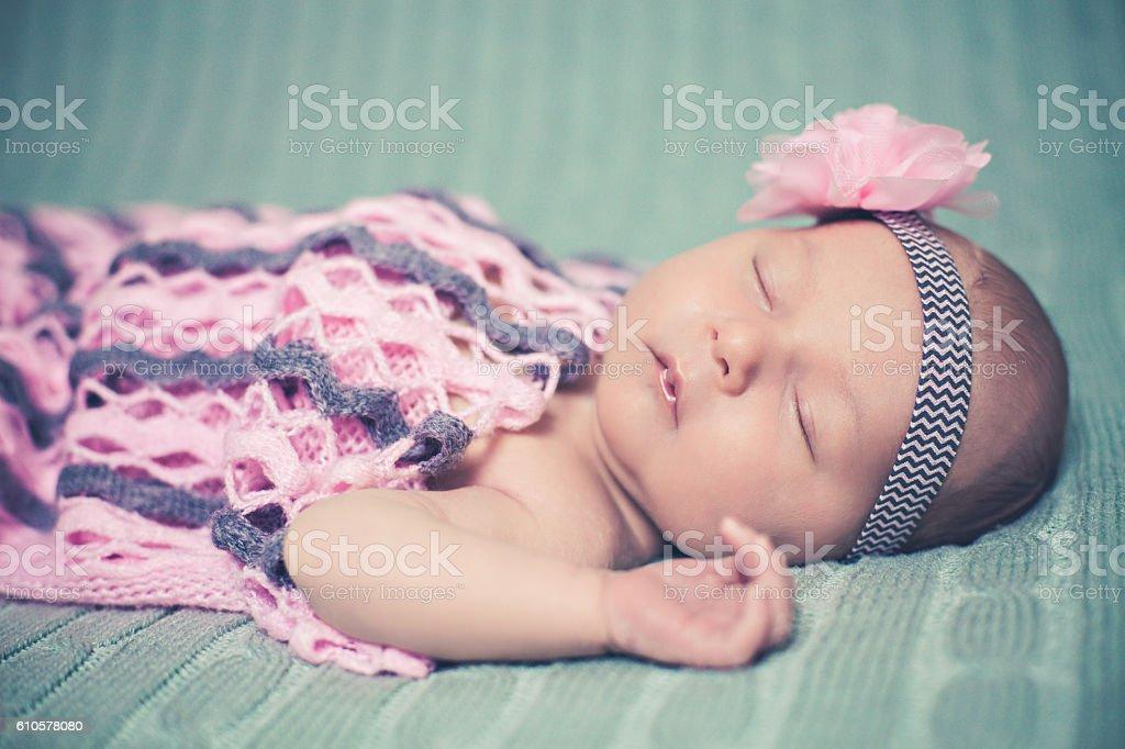 Cute Baby Girl Sleeping In Bed stock photo
