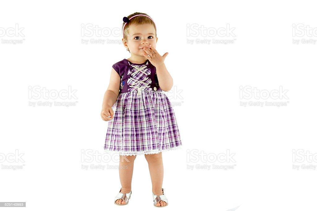 Mignon bébé fille souriant et regardant surpris - Photo