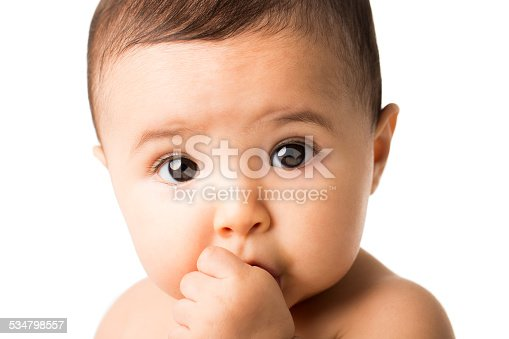 Portrait of a cute baby girl sucking her thumb isolated over white background