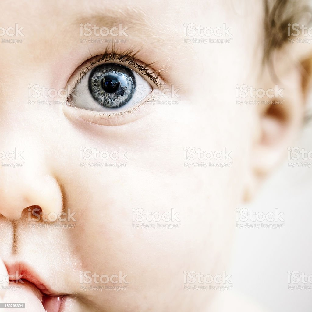 Cute Baby Girl Sucking Thumb stock photo