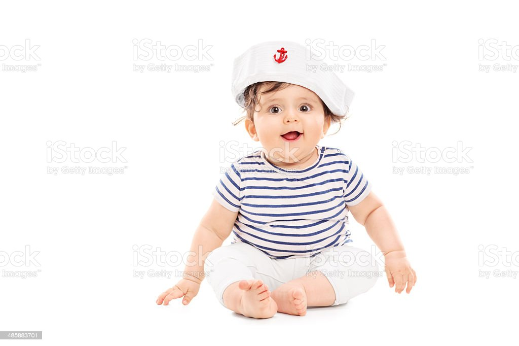 Cute baby girl with sailor hat stock photo