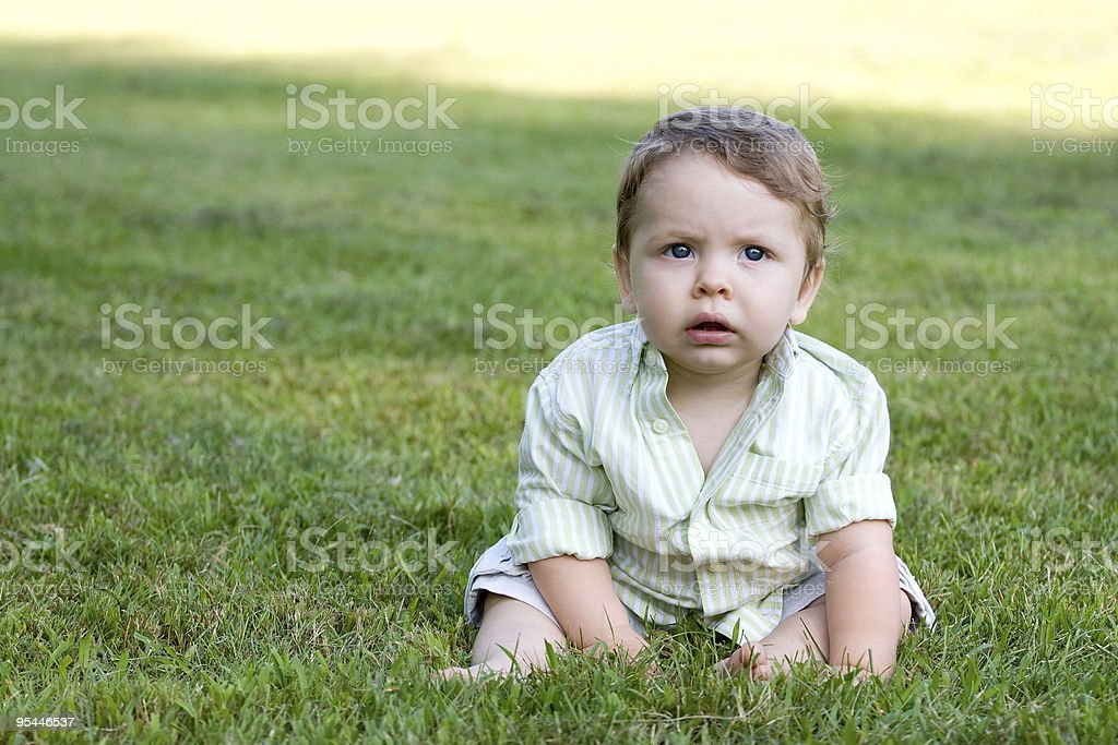 Cute Baby in the Grass royalty-free stock photo