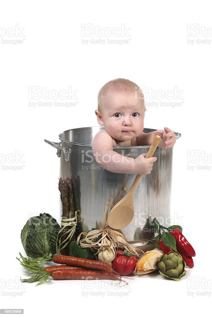 Cute Baby Infant Boy in a Chef Pot Prop royalty-free stock photo