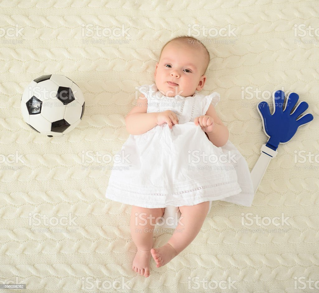 Cute baby lying on bed royalty-free stock photo