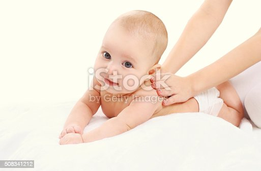 istock Cute baby massage back, child and health concept 508341212