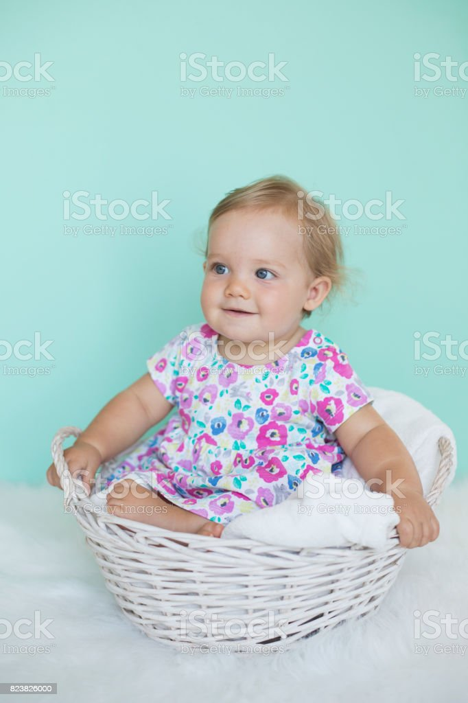 b95dbb565 Cute Baby Sitting In Basket Stock Photo   More Pictures of 6-11 ...