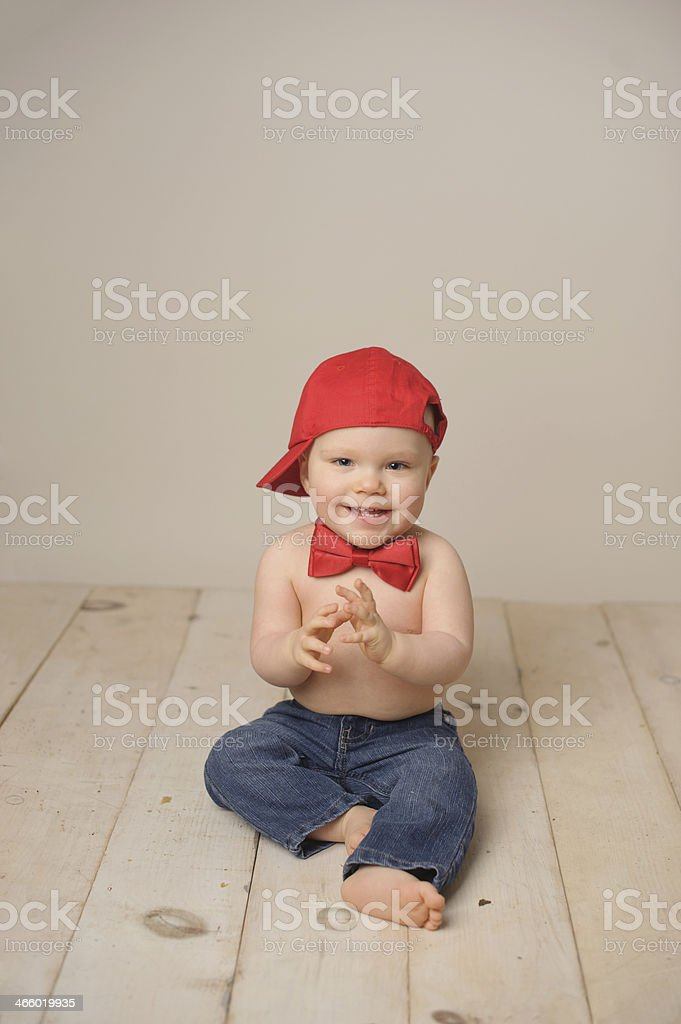 Cute Baby Wearing Hat and Bow Tie royalty-free stock photo
