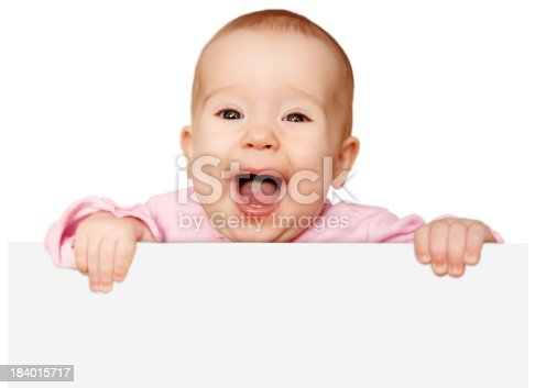 istock cute baby with white blank banner isolated 184015717