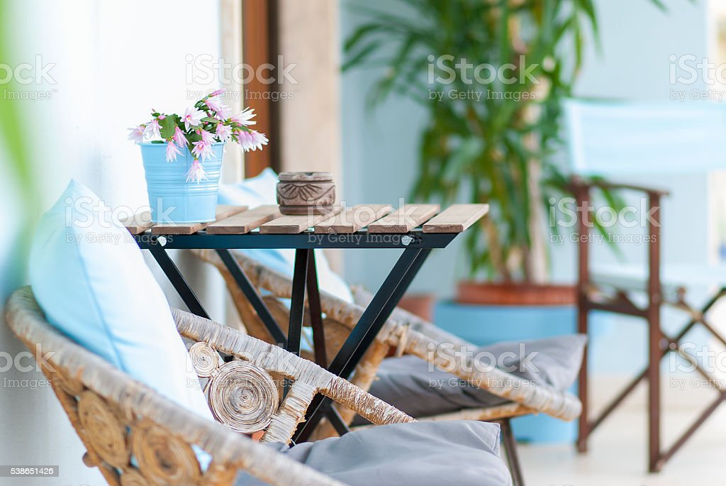 Cute balcony / terrace stock photo