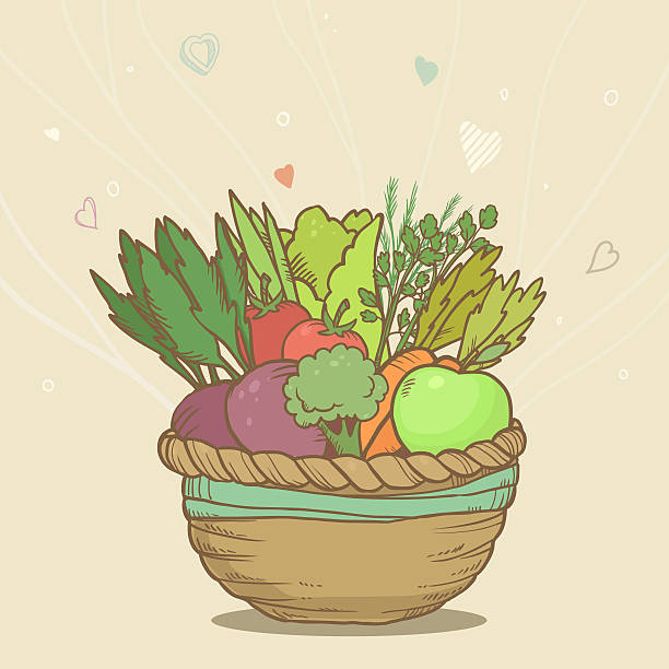 Cute basket with hand drawn vegetables stock photo