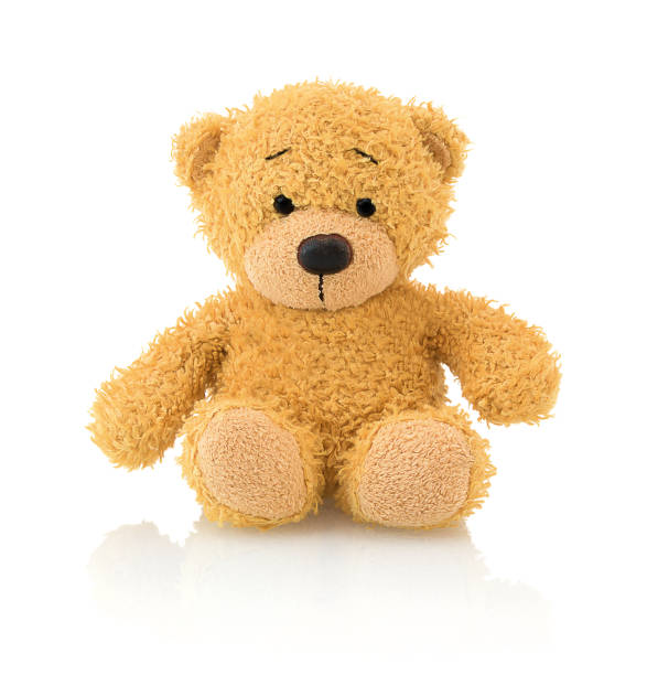 cute bear doll isolated on white background with shadow reflection. playful adorable bright brown bear sitting on white underlay. - teddy bear stock photos and pictures