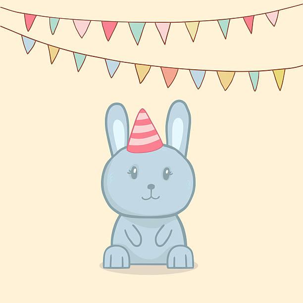 Cute birthday greeting card with rabbit stock photo