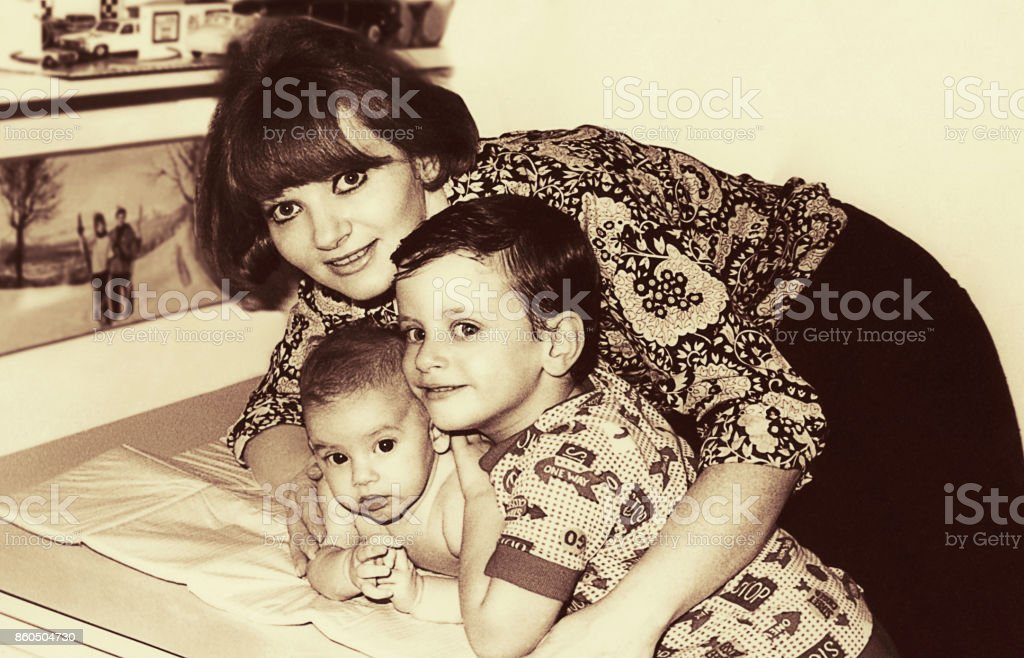 Cute black andwhite vintage family stock photo