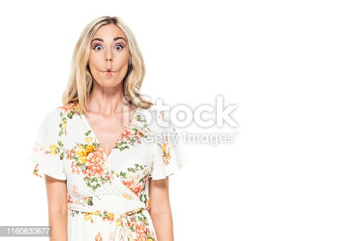 Cute blond female - is making a silly face