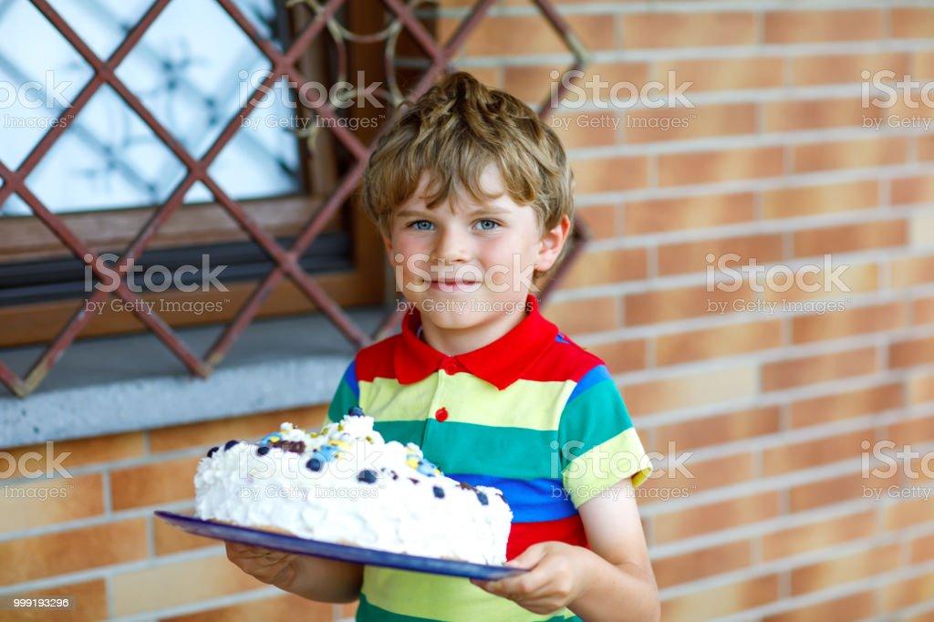 Astounding Cute Blond Kid Boy Holding Big Birthday Cake Happy Smiling Child Personalised Birthday Cards Sponlily Jamesorg