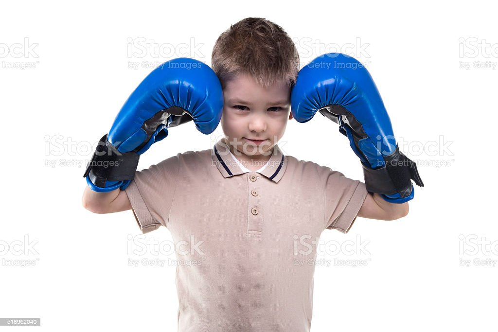 Cute Blond Little Boy With Boxing Gloves Stock Photo - Download