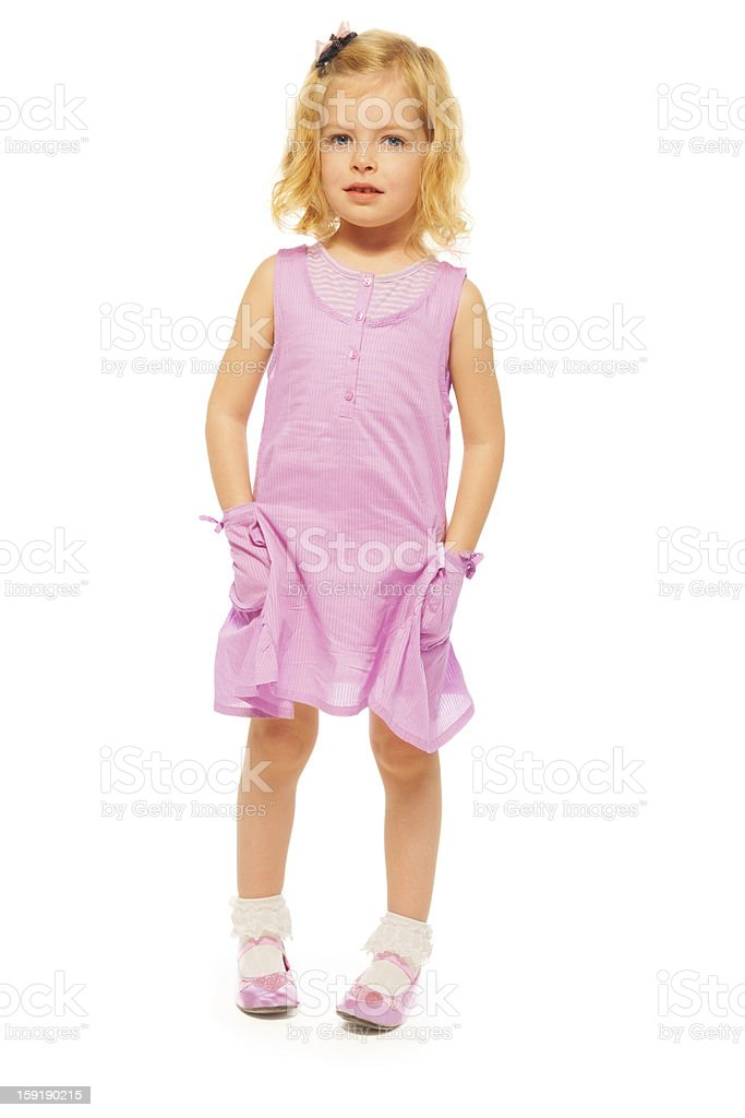 Cute blond little girl stock photo