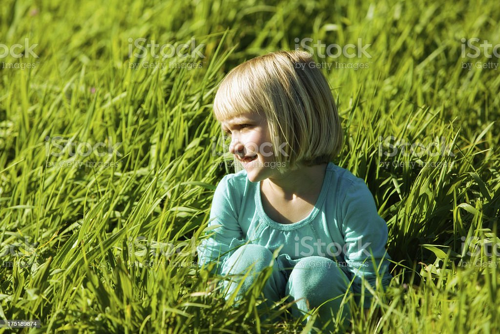 Cute blonde 5-year-old girl sitting in long grass stock photo