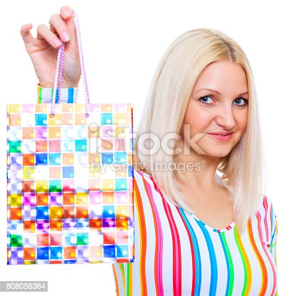 135359671 istock photo Cute blonde demonstrates the package 808056364