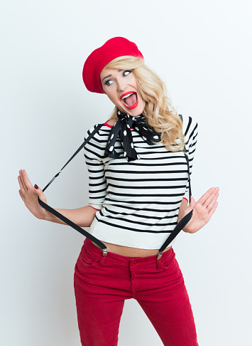 Cute Blonde French Woman Wearing Red Beret Stock Photo - Download Image Now