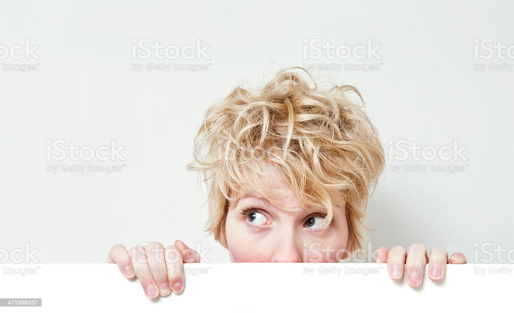 Cute Blonde Girl Looking on left side ! stock photo