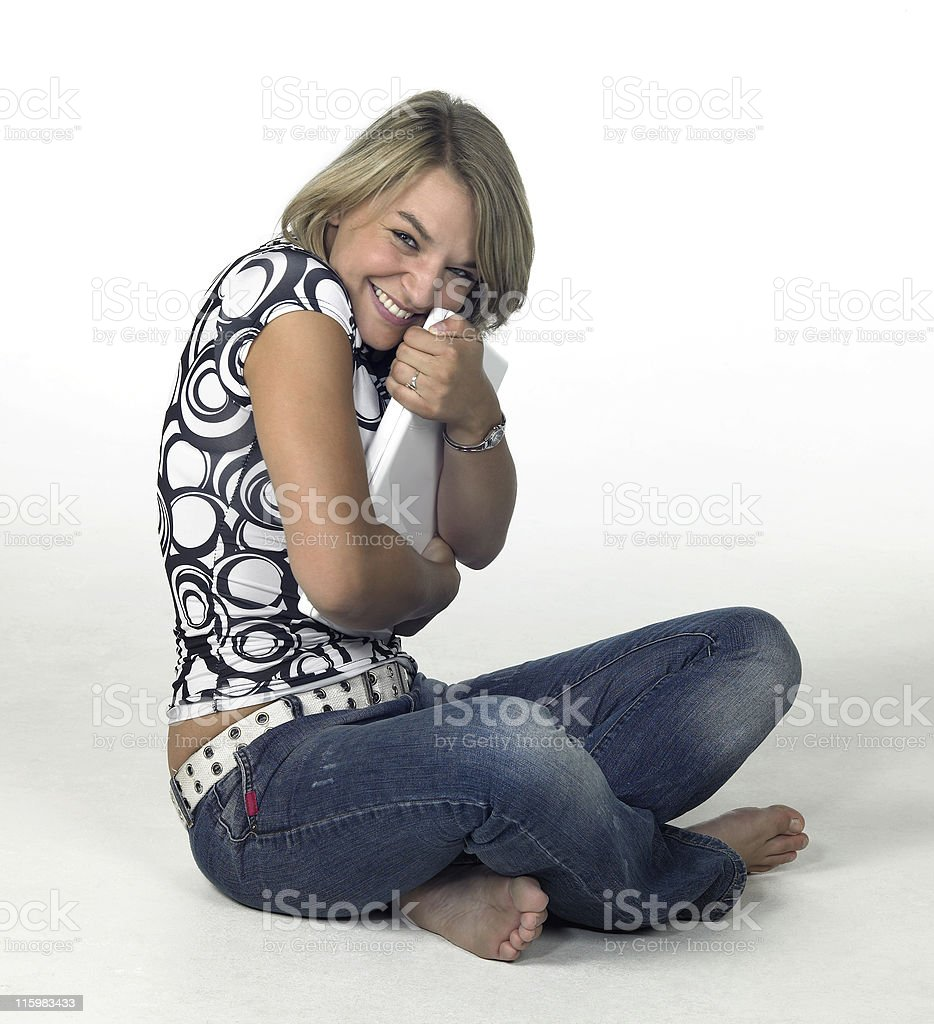 cute blonde girl loves her laptop royalty-free stock photo