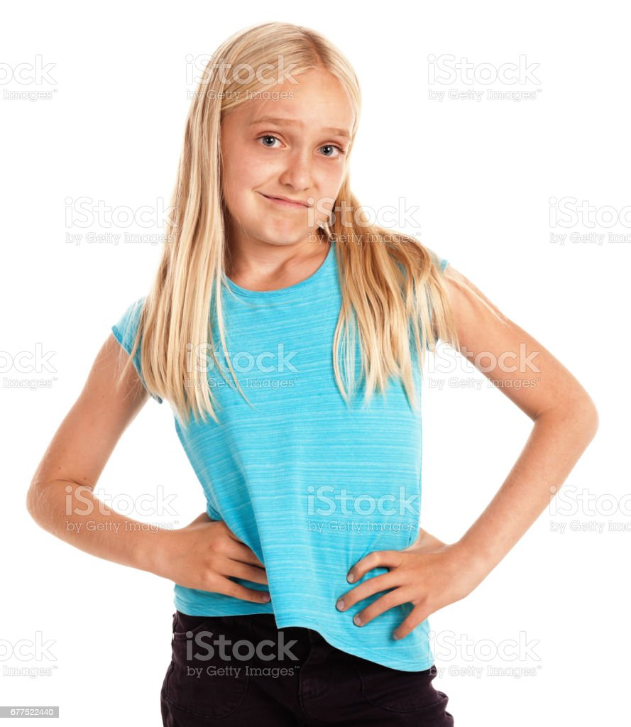 Cute Blonde Preteen Girl Smiles Confident Arms Akimbo Stock Photo  More Pictures Of -8412