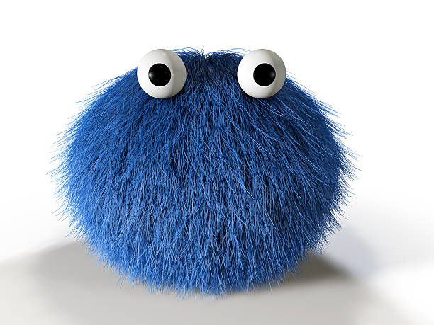 Cute blue furry monster 3d render of a cute blue furry monster. fluffy stock pictures, royalty-free photos & images
