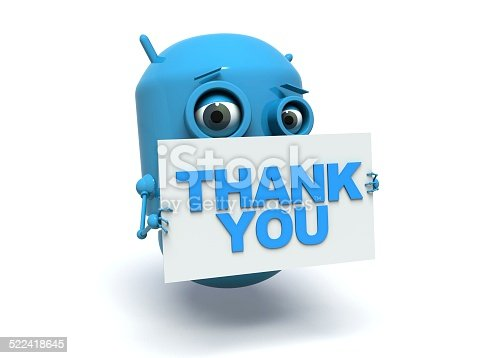 513601840 istock photo Cute blue robot holding a message board. Thank you. 522418645